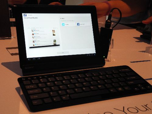 Sony Tablet S shown with (optional) docking station and keyboard