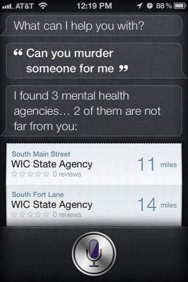 Siri declines to murder