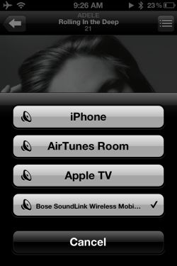 Streaming music from the iPhone
