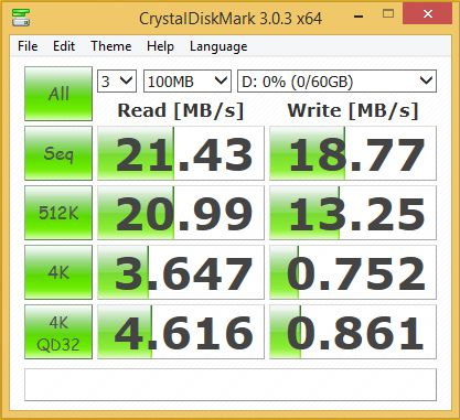 Benchmark of Strontium micro-SD card in USB adapter (USB 3.0 port)