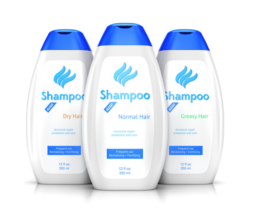 Shampoo bottle with labels