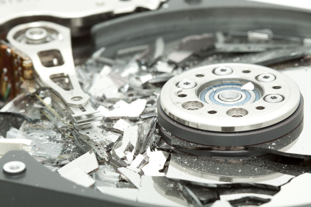 Smashed hard disk drive